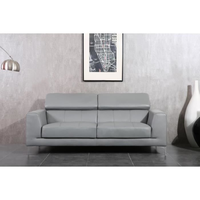 luxo canap droit 3 places cuir pvc gris achat vente canap sofa divan pieds chrom s. Black Bedroom Furniture Sets. Home Design Ideas