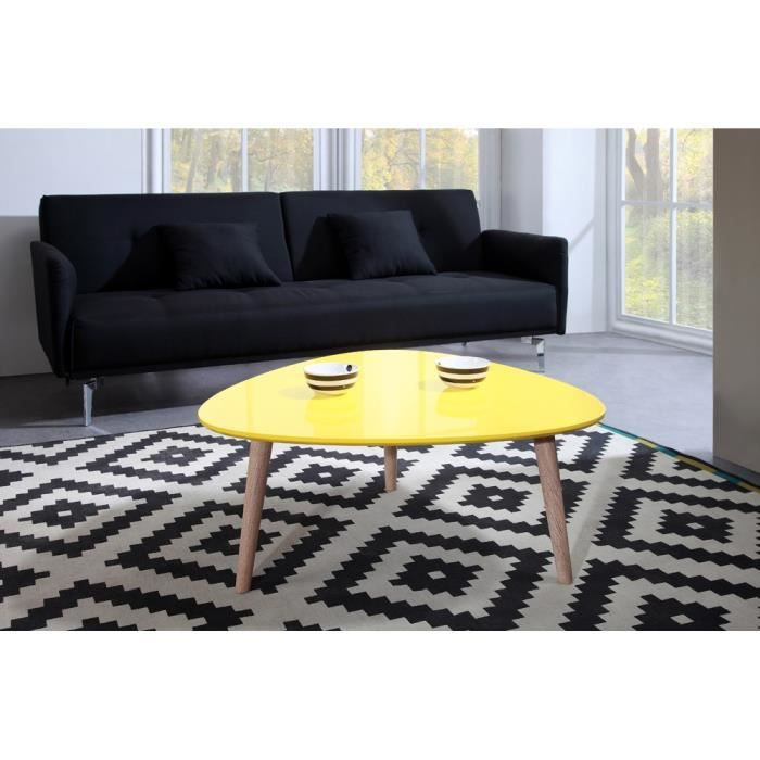 Galet table basse 80x80cm laqu e jaune brillant achat for Table basse scandinave ronde copenhague 80