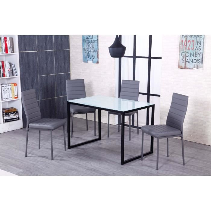 kiwi table manger en m tal et verre tremp 4 personnes 110x70 cm noir et blanc achat. Black Bedroom Furniture Sets. Home Design Ideas