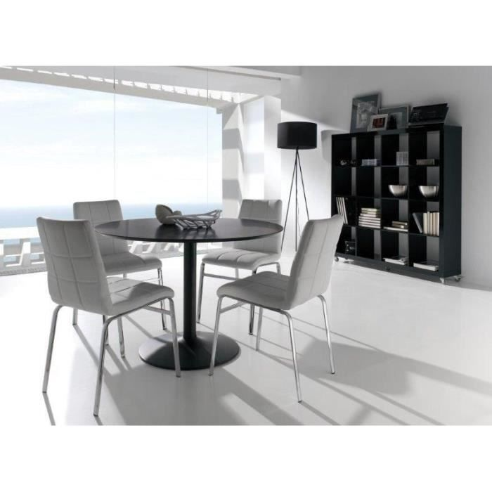 Hada table manger ronde 5 personnes 110x110 cm noir for Table a manger noir