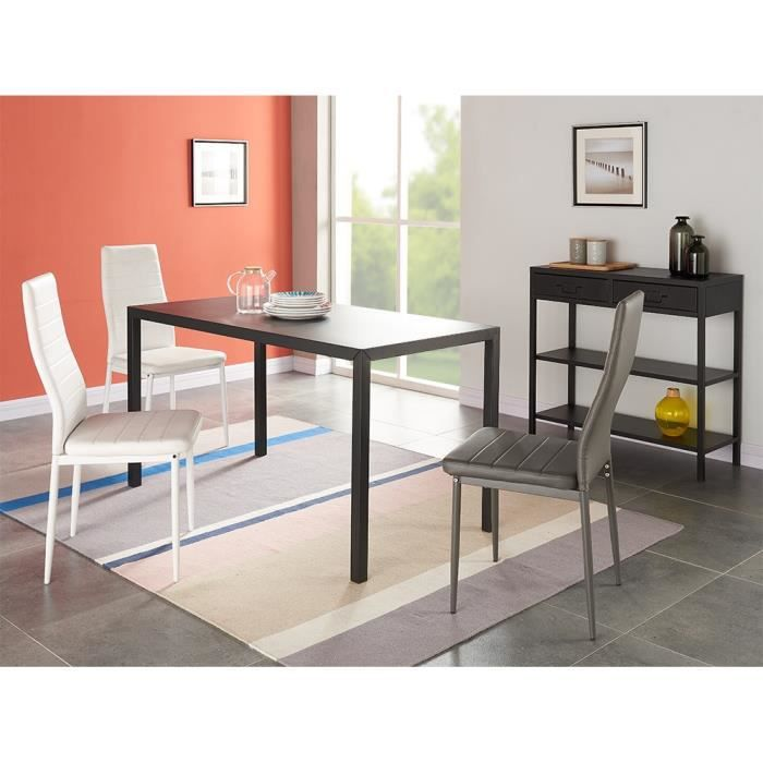Camden table manger en m tal 6 personnes 140x70 cm for Table cuisine 6 personnes
