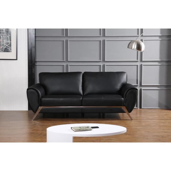 cello canap cuir et simili 3 places 212x96x89 cm noir achat vente canap sofa divan. Black Bedroom Furniture Sets. Home Design Ideas