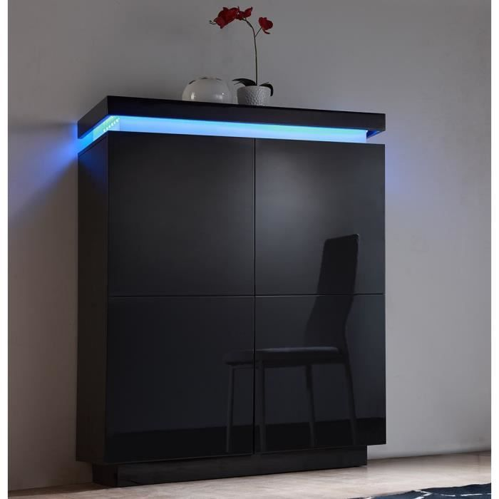 flash buffet haut laqu noir avec leds multicolores achat vente buffet bahut flash buffet. Black Bedroom Furniture Sets. Home Design Ideas
