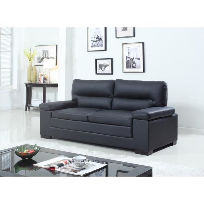 valentino canap fixe en cro te de cuir 3 places 195x86x94 cm noir achat vente canap sofa. Black Bedroom Furniture Sets. Home Design Ideas