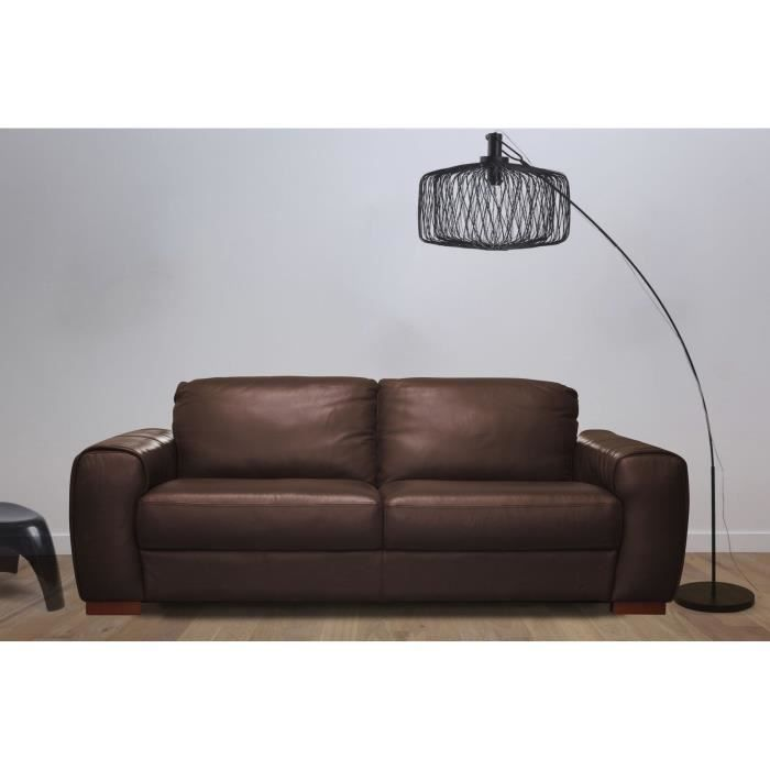 brice canap droit 3 places cro te de cuir chocolat achat vente canap sofa divan cuir. Black Bedroom Furniture Sets. Home Design Ideas