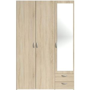 ARMOIRE DE CHAMBRE VARIA Armoire 3 portes miroir décor chêne - L 120