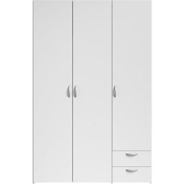 ARMOIRE DE CHAMBRE VARIA Armoire de chambre 3 portes décor blanc L 12