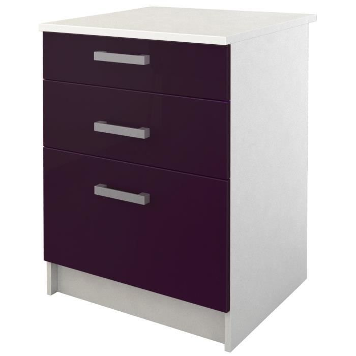 meuble de cuisine bas aubergine brillant achat vente pas cher. Black Bedroom Furniture Sets. Home Design Ideas