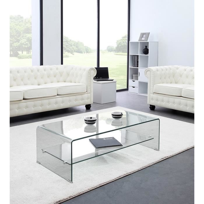glass table basse en verre tremp tag re achat vente table basse glass table basse verre. Black Bedroom Furniture Sets. Home Design Ideas