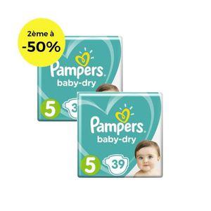 COUCHE PAMPERS Baby Dry T5 11 à 23kg - Lot de 2 - 78 couc
