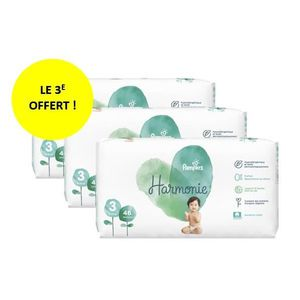 COUCHE PAMPERS HARMONIE T3 Lot de 3 paquets - 138 couches