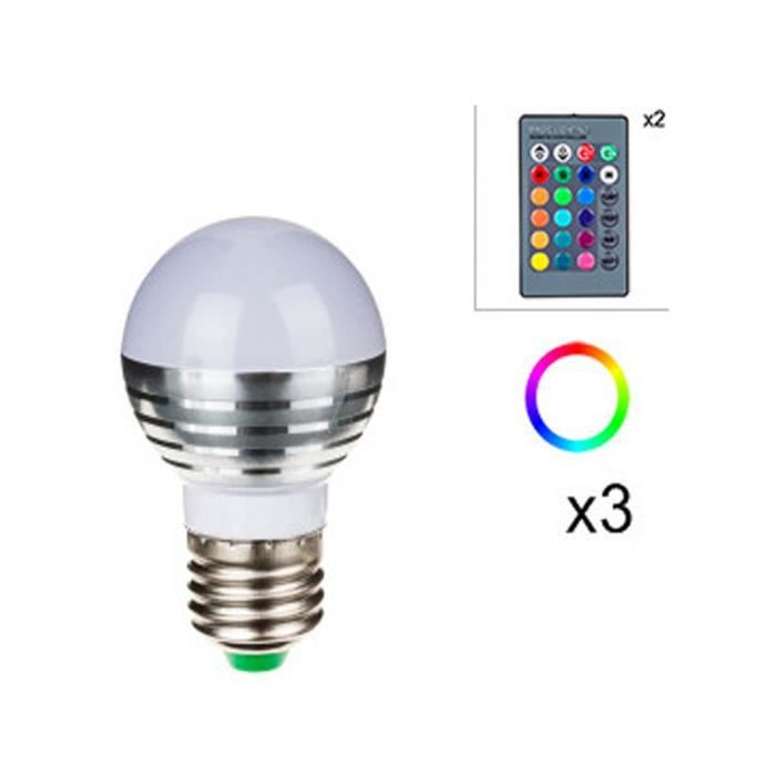 lumisky 3 ampoules led rgb 3w culot e27 avec 2 t l commandes achat vente ampoule led. Black Bedroom Furniture Sets. Home Design Ideas