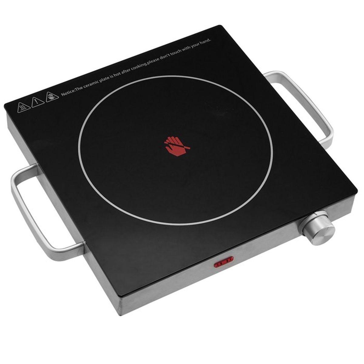 Plaque de Cuisson - Portable, Infrarouge, 7 W, Ø 7 cm, Acier Inoxydable  et Vitrocéramique - Plaque Chauffante Électrique