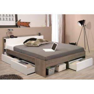 STRUCTURE DE LIT Lit à tiroirs 160*200 Blanc/Noyer - STOM - Bois -