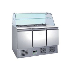 ARMOIRE RÉFRIGÉRÉE Saladette réfrigérée avec vitrine - 3 portes