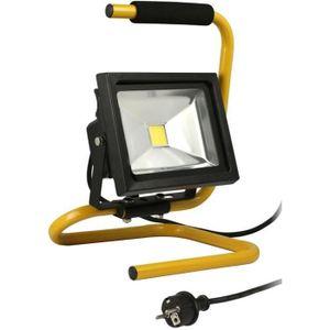 LAMPE DE CHANTIER Projecteur de chantier LED 20W portable + câble