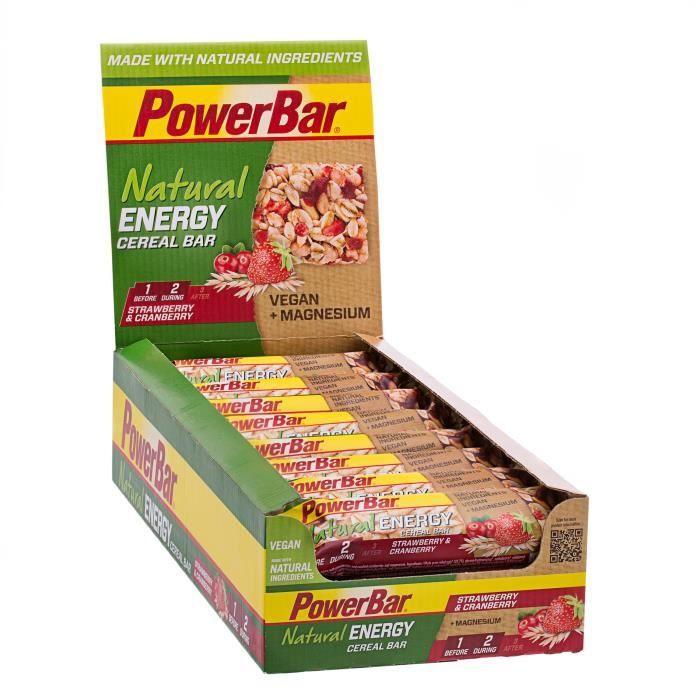 POWERBAR Lot de 24 barres de céréales Natural Energy Cereal - Fraise et canneberge - 40 g