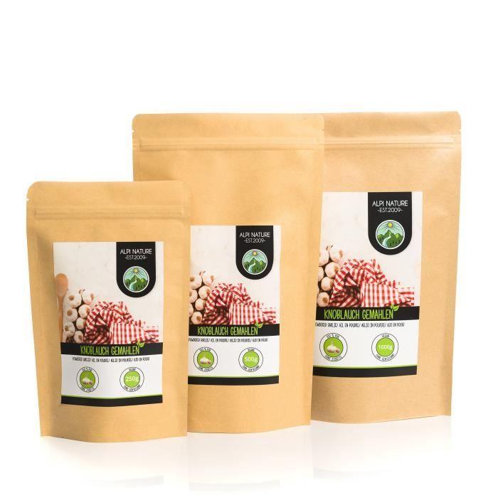 Poudre d'ail (500g), ail moulu, 100% naturel à partir d'ail doucement séché, naturellement sans additifs, végétalien
