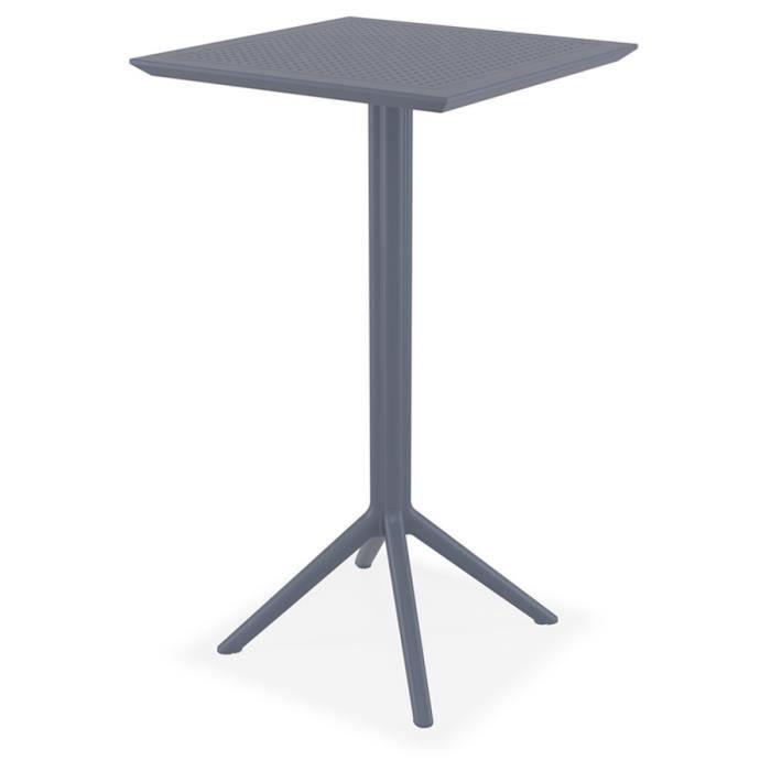 Table haute pliable 'FOLY' grise foncée pour intérieur et extérieur