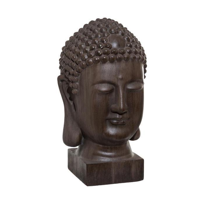 Atmosphera - Objet décoratif Tête de Bouddha marron pour extérieur ou intérieur H 51 cm Marron