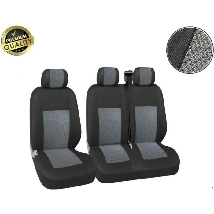Ford Connect Transit Housse Couvre-Sieges 2+1 Luxe Tissus Gris-Noir