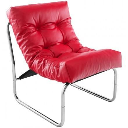 Fauteuil design ISERE en simil cuir (rouge)