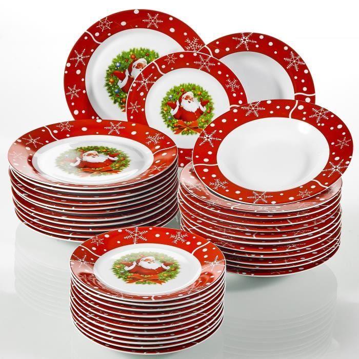 SANTACLAUS, 36 Pièces de Plates, 12 assietes Plates, 12 Assiettes Creuses, 12 Assiettes à Dessert, en Porcelain