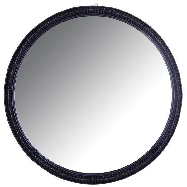 Grand miroir rond en rotin noir Noir