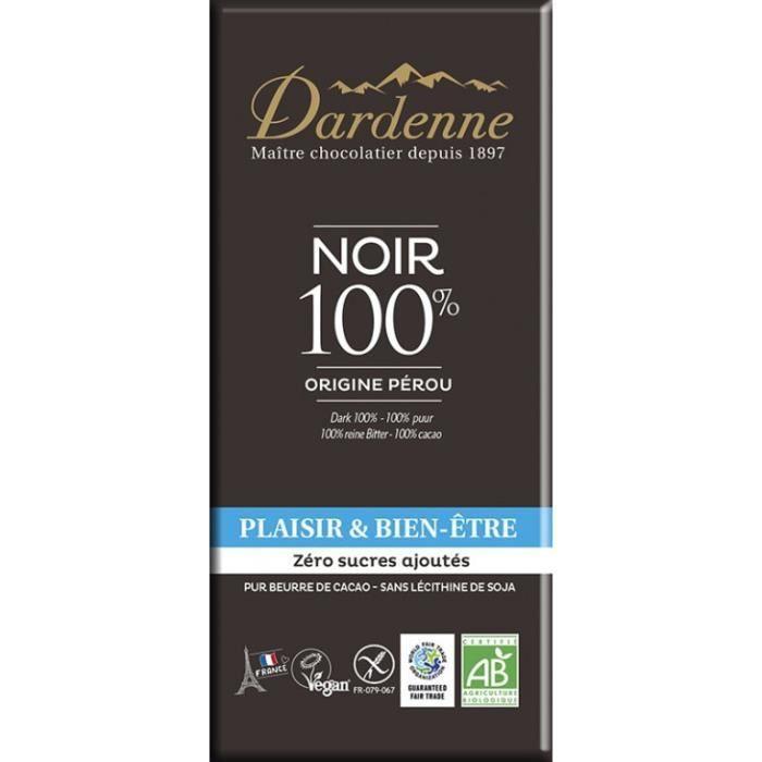 Tablette chocolat noir 100% zéro sucre ajouté 70gr