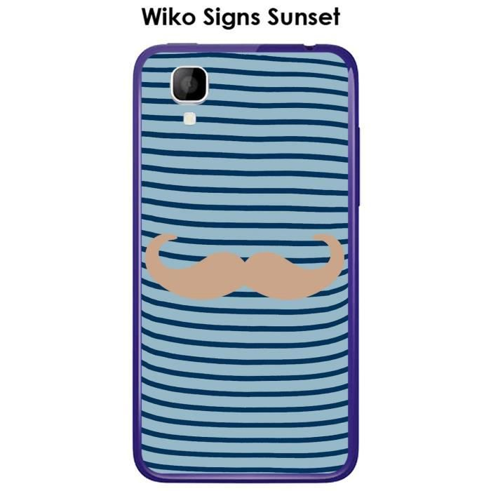 Coque Wiko Signs Sunset design Marinière Moustache - 1 Toasted Almond