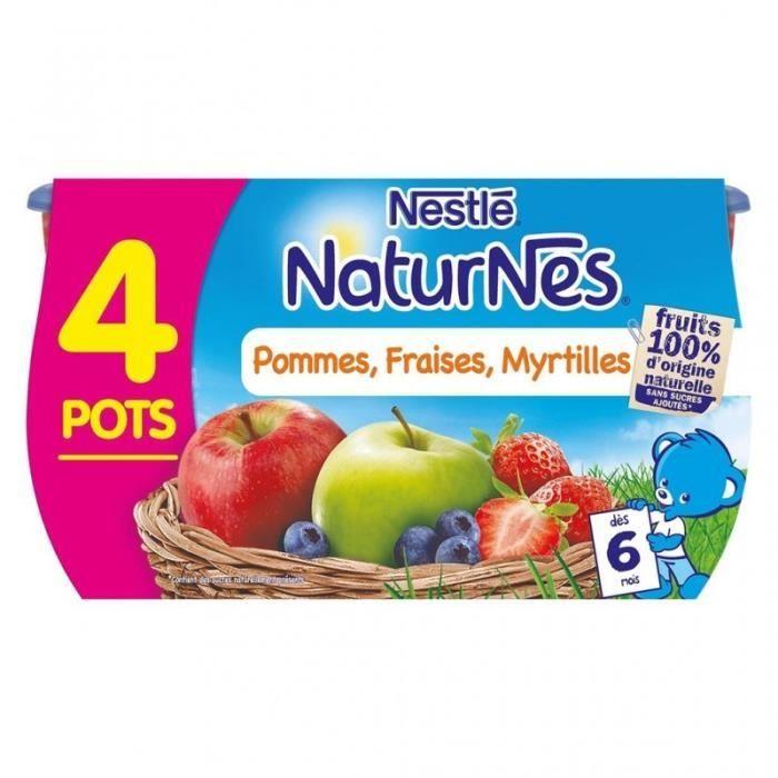 Nestlé Naturnes Pommes Fraises Myrtilles (dès 6 mois) par 4 pots de 130g (lot de 6 soit 24 pots)