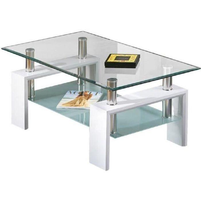Table basse Alva avec plateau et tablette en verre. De couleur blanche.