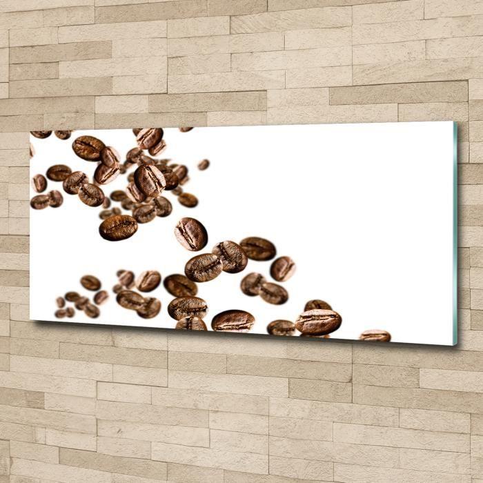 Tulup 125x50cm Tableau sur verre acrylique- Nourriture boissons - Grains De Café - Brun Viol