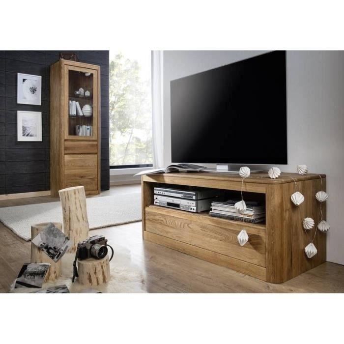 Meuble TV - Bois massif de Chêne sauvage huilé (Bois naturel) - LINZ #103