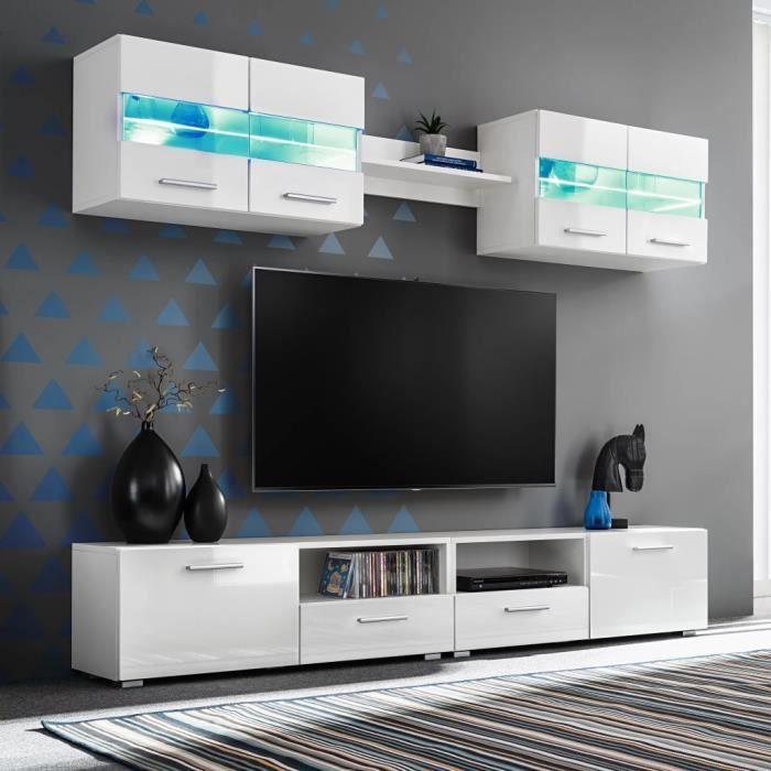 Moderne Ensemble Meuble TV mural pour salon 5 pcs lumières LED Haute ®SROBMH®