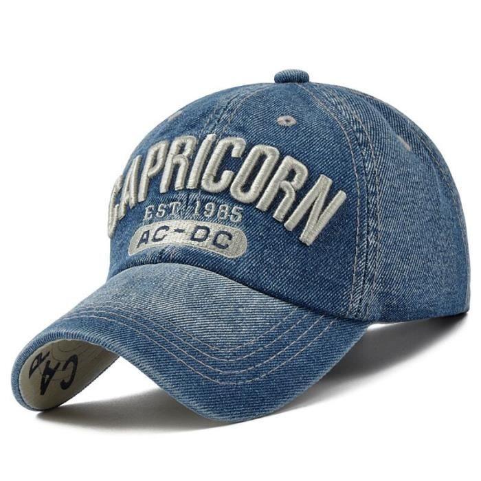Casquette en jean brodé NYC pour homme et femme, sport, baseball, snapback, USA, hip hop, été, nouvelle m CAPRICORN navy -WGHY1942