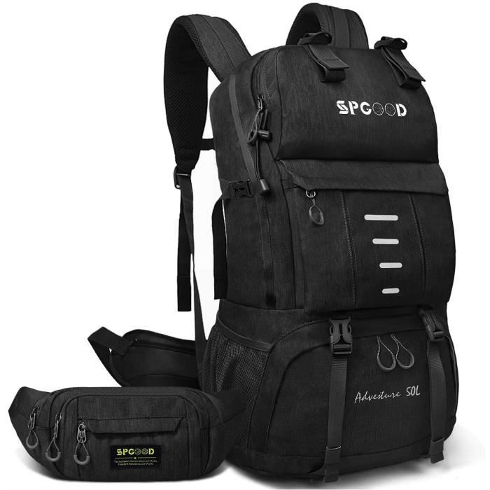 SPGOOD Sac à Dos de Randonée 40L-50L avec sac de taille Homme Femme-Grande capacité-avec Housse de pluie Sac à dos de -Pour le[265]