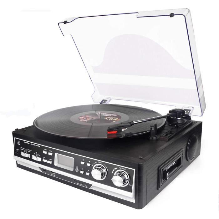 Platine Vinyle DL, Cassette 4 en 1 dl avec télécommande, Bluetooth, Radio FM, Lecteur de Cassette, USB, SD et encodage, Platine Viny