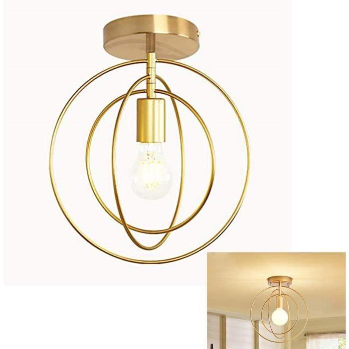 Abat-Jour de Plafonnier Cercle E27 Lustre Fer Rétro Industrielle en Métal Anneaux Lampe Suspension Luminaire LED Antique Pendante po
