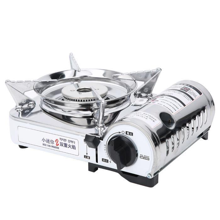 Qiilu Brûleur à gaz portable MS‑8000 Brûleur de Cuisinière à Gaz Portable Four à Cassette de Camping Coupe&#8209Vent pour