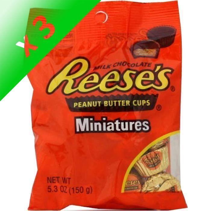 [LOT DE 3] REESE'S Cups Miniatures au Beurre de Cacahuètes - 150 g