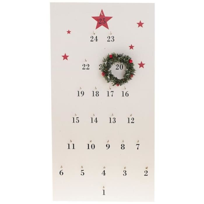 FEERIC LIGHTS & CHRISTMAS Suspension Calendrier de l'Avent + Couronne - 51 x 26 cm