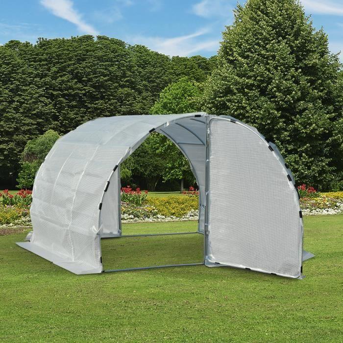 Serre de jardin tunnel surface sol 9 m² 3L x 3l x 2H m châssis tubulaire renforcé 25 mm double porte avec poignées blanc neuf 75WT