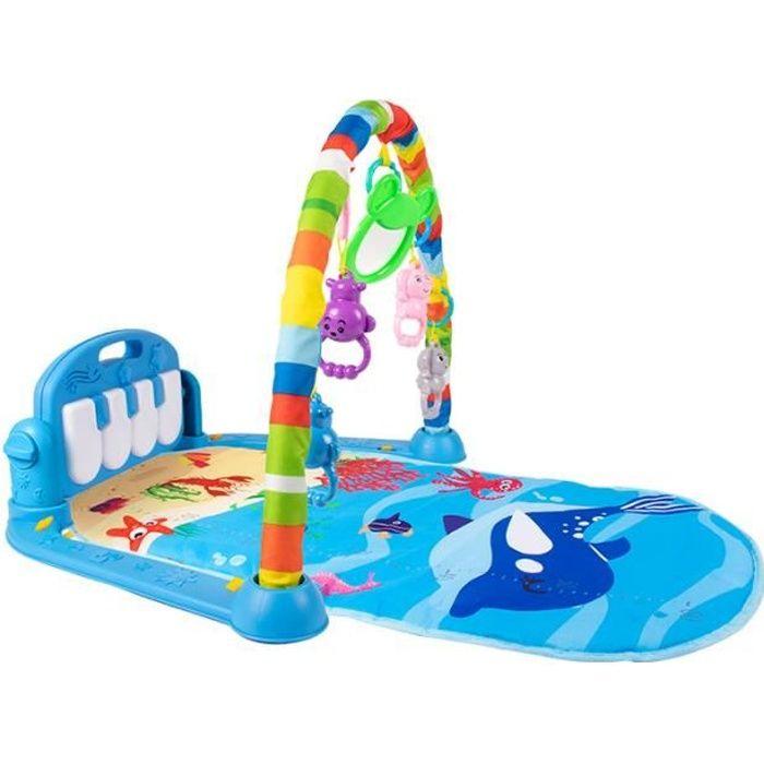 HXEIBUE 3 en 1 Tapis d'Éveil pour Bébé avec Piano et Arches - Tapis de Jeux Sctivité Gym avec 5 Jouets Suspendus pour Bébé 0-12 Mois