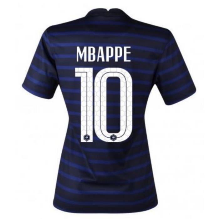 Nouveau Maillot Officiel de Football Femme Nike France Domicile Euro 2020 Flocage Officiel Numéro 10 Mbappé