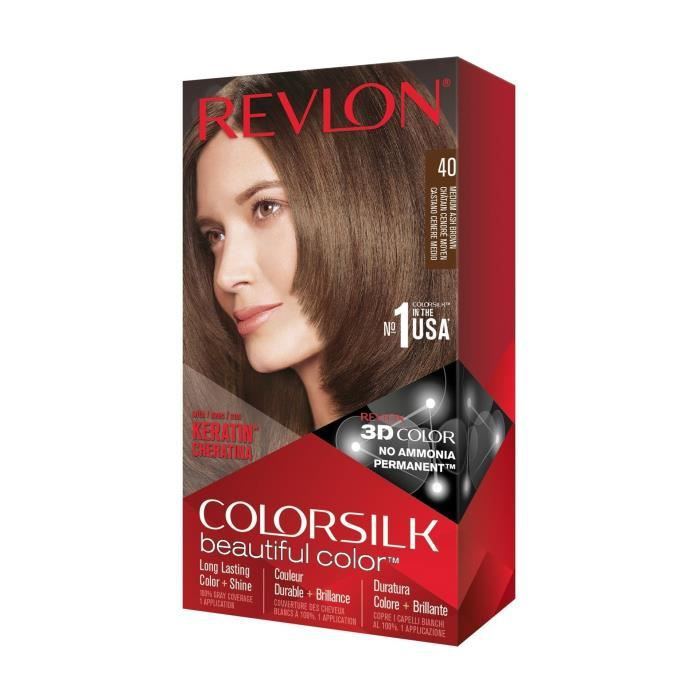 COLORSILK Coloration N°40 - Châtain cendré moyen - 59,1 ml