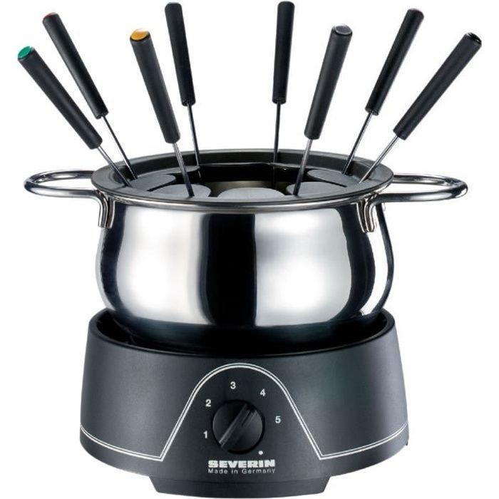 SEVERIN FO2400 Fondue électrique - 8 personnes - 800W - Caquelon amovible - Thermostat réglable / Noir-Inox