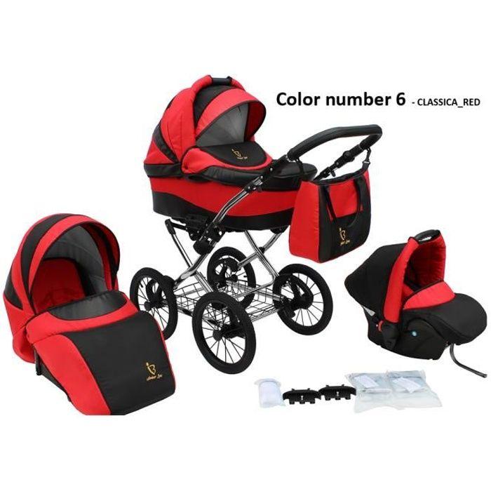 Poussette/Landau avec siège-auto 3en1 et avec accessoires & cadre en chrome et roues 14- gonflables bébé enfant Classica - Rouge.