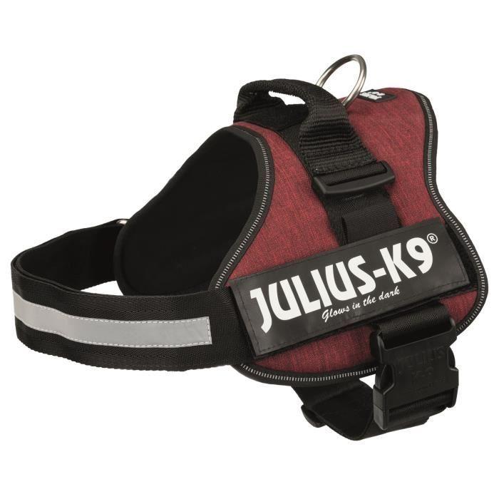 JULIUS K9 Harnais Power 1–L : 66–85 cm - 50 mm - Rouge bordeaux - Pour chien