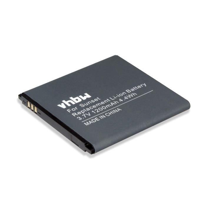 vhbw Li-Ion batterie 1200mAh pour téléphone portable Wiko Goa, Sunset, Sunset 2